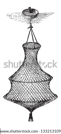 Fishing Basket or Bag, vintage engraved illustration. Le Magasin Pittoresque - 1874 - stock vector