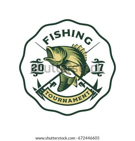 fishing bass logo template stock vector 672446605 - shutterstock