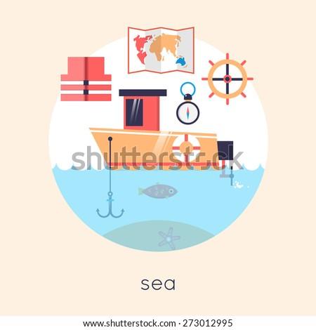 Fishing boat. Flat design vector illustrations. - stock vector