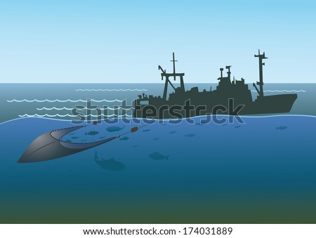 Fishing boat pulls trawl net, capturing the fish. - stock vector