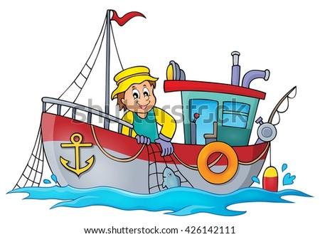 Fishing boat theme image 1 - eps10 vector illustration. - stock vector