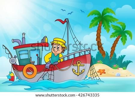 Fishing boat theme image 5 - eps10 vector illustration. - stock vector