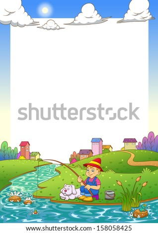 fishing boy frame. EPS10 File  simple Gradients,  simple Transparencies.All in separate group for easy editing. - stock vector