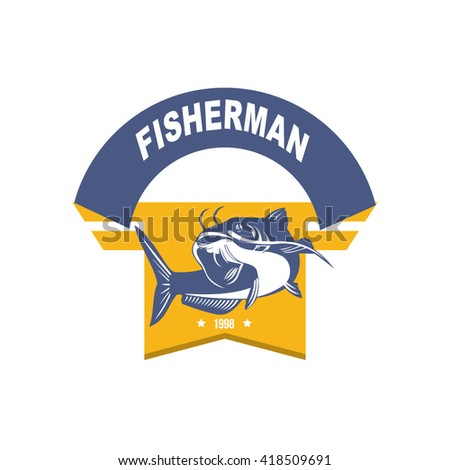 Fishing Club Logo Template. vector illustration logo design of sailing and fishing hobbies tournament, editable emblem and crest fishing activities