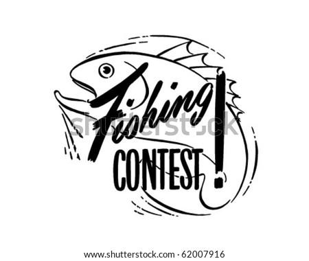 Fishing Contest - Ad Header - Retro Clipart - stock vector