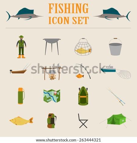 Fishing equipment icon set. Vector illustration - stock vector