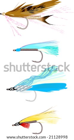 fishing flies - stock vector