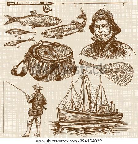 Fishing. Hand drawn set. - stock vector
