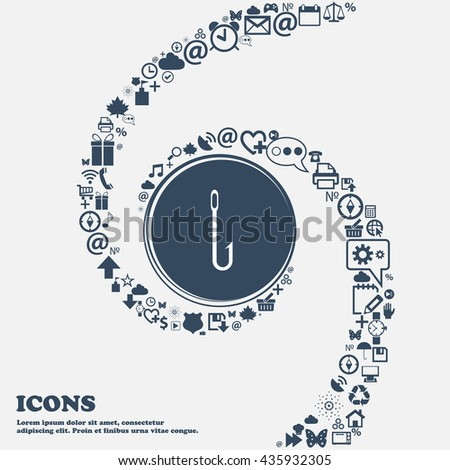 Fishing hook icon sign in the center. Around the many beautiful symbols twisted in a spiral. You can use each separately for your design. Vector illustration - stock vector