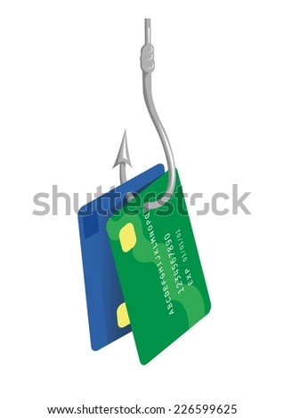 Fishing hook with bank or credit cards - stock vector