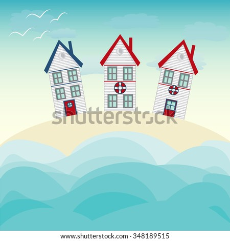 Fishing house, tiny white house, sea and vast sky with seagulls. Seaside themed vector landscape with a dune, huts under a summer sun symbolic of travel and a tropical vacation