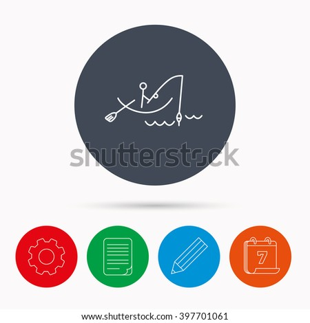 Fishing icon. Fisherman on boat in waves sign. Spinning sport symbol. Calendar, cogwheel, document file and pencil icons. - stock vector