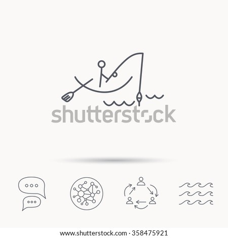 Fishing icon. Fisherman on boat in waves sign. Spinning sport symbol. Global connect network, ocean wave and chat dialog icons. Teamwork symbol. - stock vector