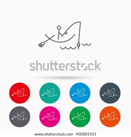 Fishing icon. Fisherman on boat in waves sign. Spinning sport symbol. Linear icons in circles on white background. - stock vector