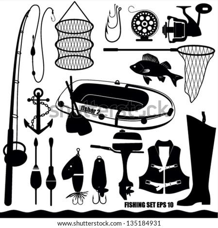 Fishing icon set - stock vector