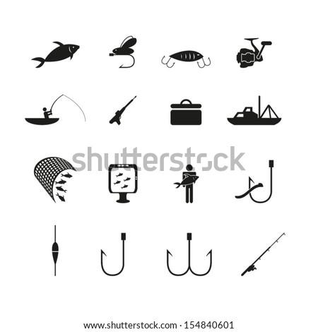 Fishing icons set - stock vector
