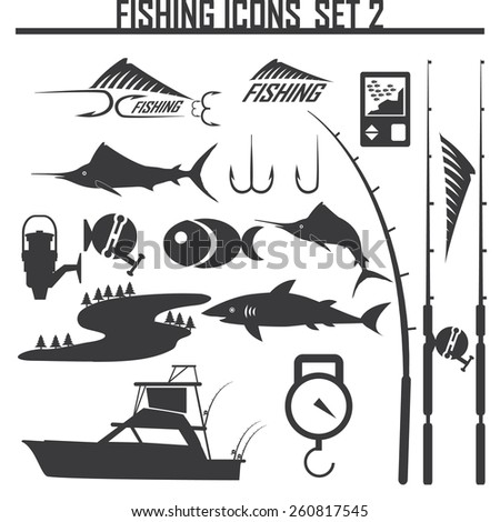 Fishing icons set 2 - stock vector