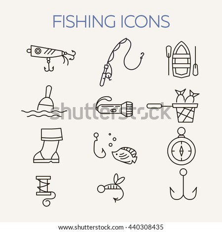 Fishing icons. Summer activity vector icons. Fishing elements isolated. Summer concept - fishing line icons. Marine symbols. Fishing equipment.  - stock vector