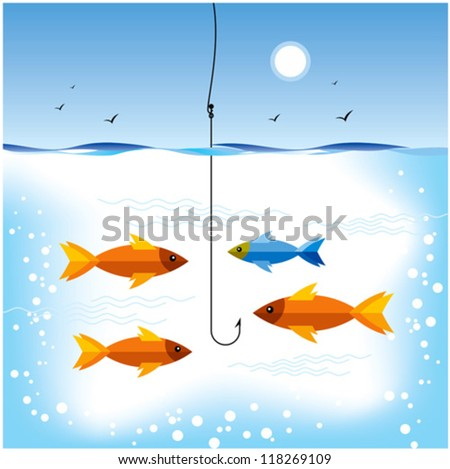 fishing in sea - stock vector