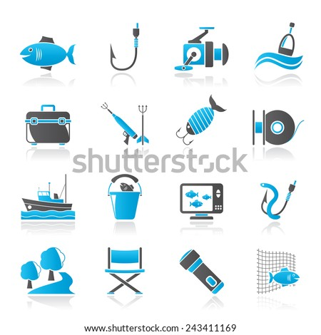 Fishing industry icons - vector icon set, Created For Print, Mobile and Web  Applications - stock vector