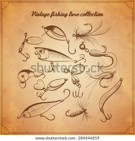 fishing lures collection of design elements sketch style vintage vector illustration. hard baits, jigs, wobblers, metal baits and fly fishing lures for your design progect  - stock vector