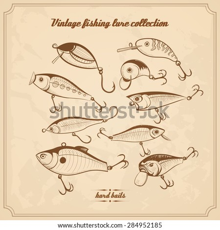 fishing lures collection of design elements sketch style vintage vector illustration. hard baits, wobblers for your design project - stock vector