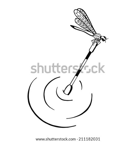 Fishing on the float on the lake - stock vector