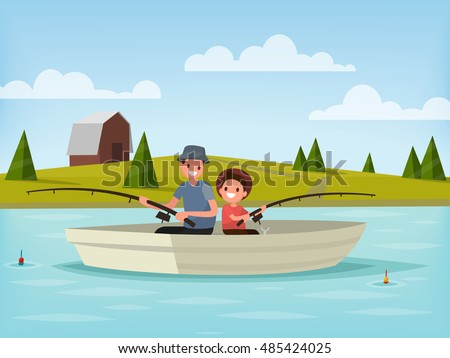 Fishing on the lake. Father and son go fishing while sitting in a boat. Vector illustration