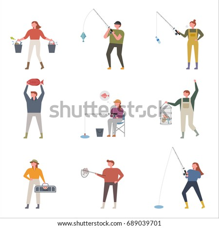 Fishing people vector illustration flat design