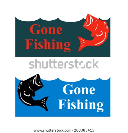 Fishing poster with jumping bass in waves vector illustration - stock vector
