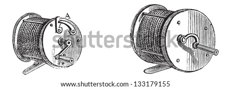 Fishing Reels, vintage engraved illustration. Le Magasin Pittoresque - Larive and Fleury - 1874 - stock vector
