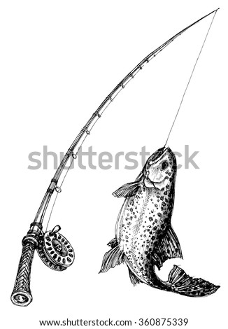 Fishing rod and fish isolated - stock vector