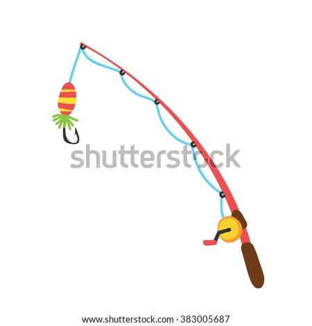 fishing rod cartoon stock vector 383005687 shutterstock rh shutterstock com Fish Hooks Cartoon Cartoon Fish