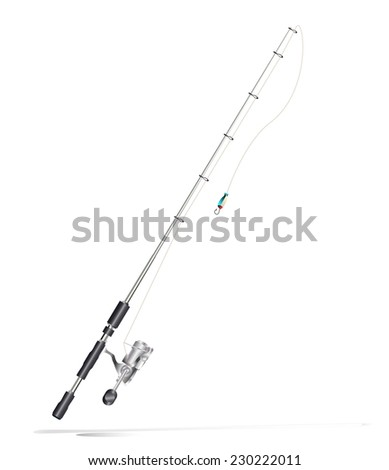 fishing rod on white - stock vector