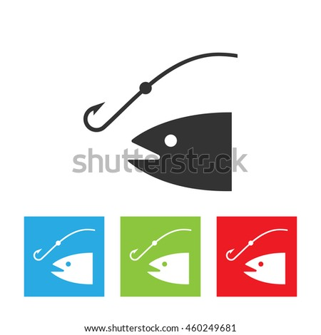 Fishing rod silhouette. concept of relaxation, tourism, ocean fishing, spinnerbait, spoon-bait, hunting. flat style trend modern logo design vector illustration. Fish and anchor logo.