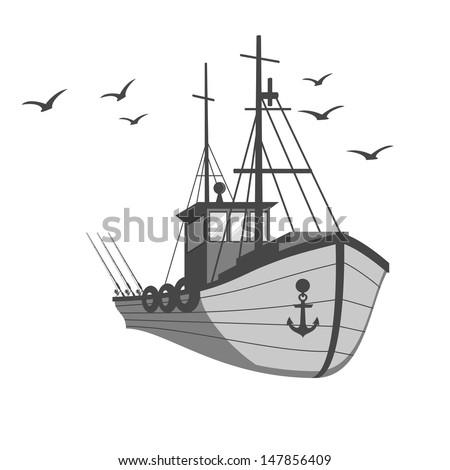 Fishing ship - stock vector