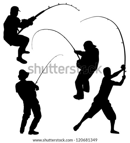 Fishing Silhouette on white background - stock vector