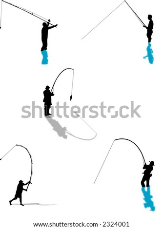Fishing silhouettes with reflection from the water