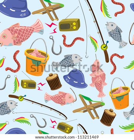fishing stuff background - stock vector