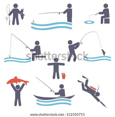 Fishing symbols. Set icons for your design - stock vector