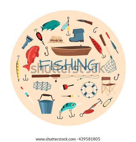 Fishing tools illustration circle shape fishing stock for Circle fishing boat