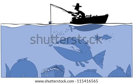 Fishing treasure. silhouette Illustration. - stock vector