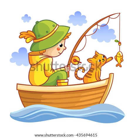 Fishing vector illustration. Boy in a boat fishing with cat.  Cartoon Fisherman.