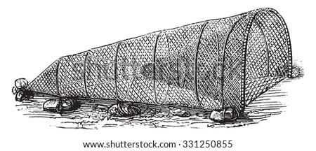 Fishing without the fisherman, vintage engraved illustration. Magasin Pittoresque 1877. - stock vector