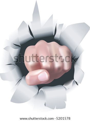 Fist.  An illustration of a fist breaking through a wall, conceptual piece - stock vector