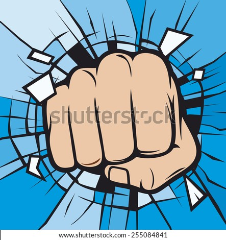 fist breaking through glass (human hand breaking glass ) - stock vector