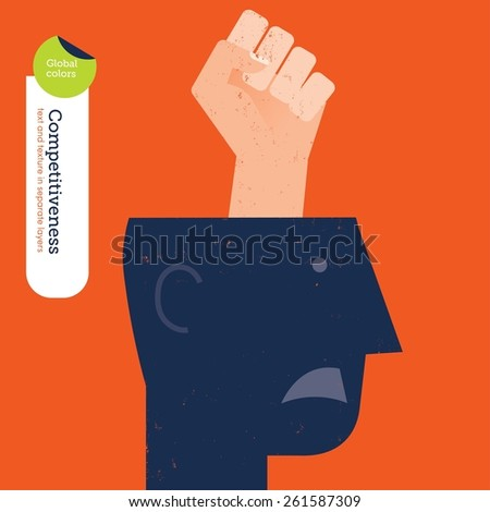Fist coming out of a head. Vector illustration Eps10 file. Global colors. Text and Texture in separate layers. - stock vector