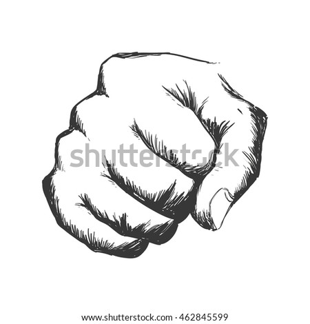 fist hand finger gesture palm icon. Isolated and sketch illustration. Vector graphic