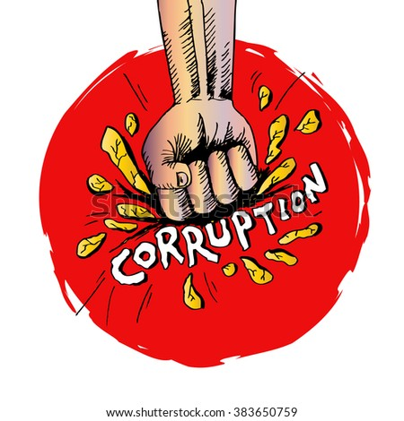 Fist hand smashing the ground for Corruption. Poster concept. - stock vector