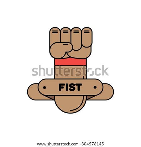 fist hand symbol logo sign communication - stock vector